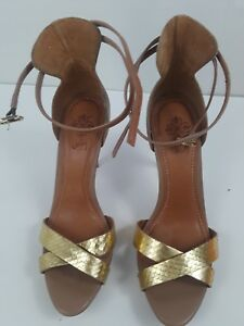 Velez-Women-039-s-Pump-Heels-Peep-Toe-Beige-amp-Gold-Ankle-Strap-Buckle-S-38EUR-7-5US