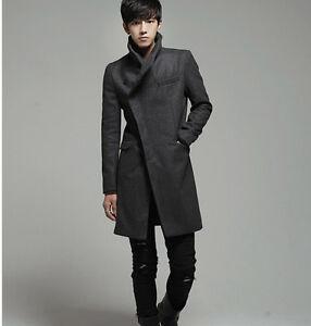 Korean Men S Fashion Woollen Blend Slim Fit Trench Jacket Outwear