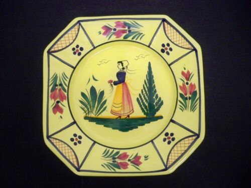 QUIMPER SOLEIL YELLOW PLATE 7 14 INCHES OCTAGONAL 7 34 INCHES