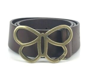 Coach-Belt-Brown-Roughout-Leather-Suede-Butterfly-Buckle-Italy-Womens-Size-M