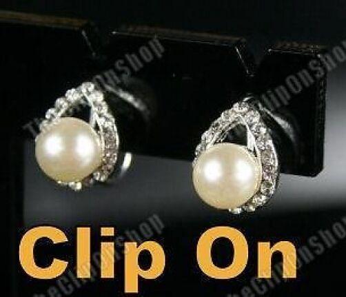 CLIP ON pearl&crystal DIAMANTE rhinestone stud EARRINGS