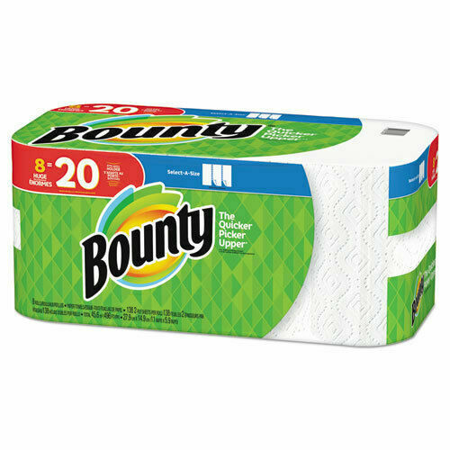 Bounty Paper Towels Select-a-size 8 HUGE Rolls (138 Sheets per Roll) White