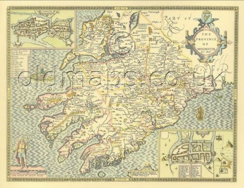 Munster IRISH Replica John Speed 17c Old Map Full Size PRINT UNIQUE GIFT!
