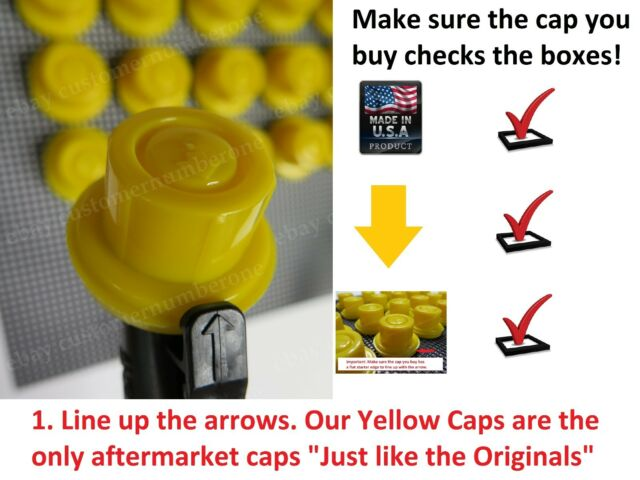 4 x NEW BLITZ Replacement YELLOW SPOUT CAPS Fuel Gas fits # 900302 900092 900094