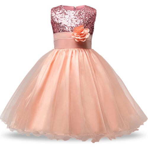 Kid Baby Flower Girls Party Sequins Dress Wedding Bridesmaid Dresses Ages 6M-8Y/_