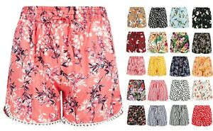 new ladies girls lounge cotton elasticated waist spring summer beach short