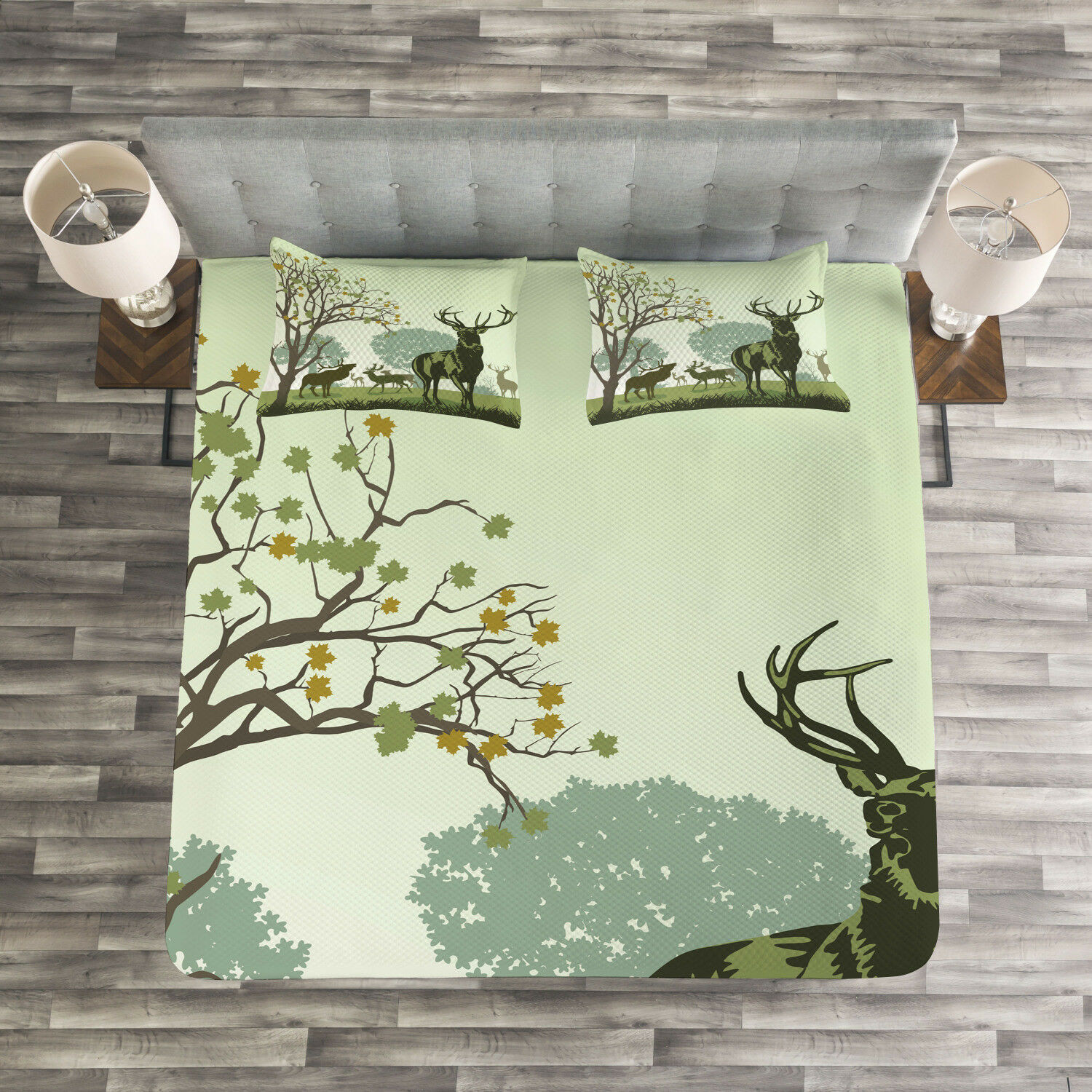Green Quilted Bedspread & Pillow Shams Set, Deer and Nature Park Print