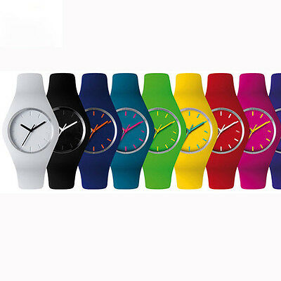 Unisex GENEVA Silicone Rubber Jelly Gel Quartz Analog Sports Women Wrist Watch