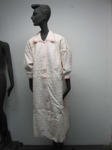 VTG 1950s WOMENS WHITE w PINK EMBROIDERED STRIPE Q