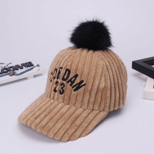 Girls Women Winter Hat Thick Warm Corduroy Pompom Ball Baseball Caps Boys Hiphop