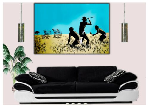 BANKSY CHART FUNNY HUNTER PAINTING RE PRINT ON FRAMED CANVAS WALL ART HOME DECOR