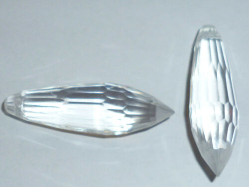3 morceau de plastique perles gouttes à facettes 30x10 mm cristallin en plastique