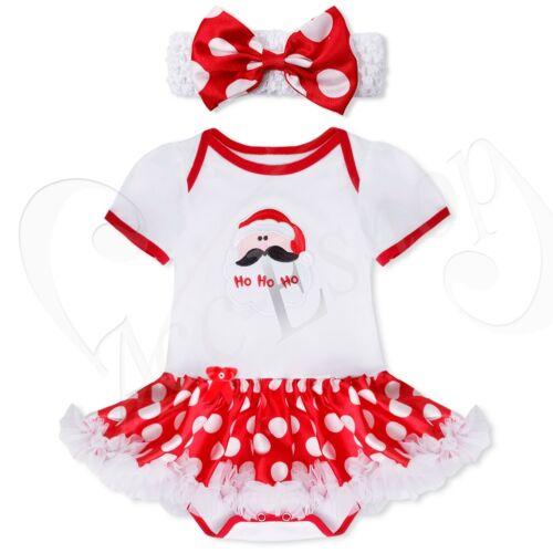 Newborn Infant Baby Girl Christmas Santa Romper Fancy Tutu Dress Outfit Clothes