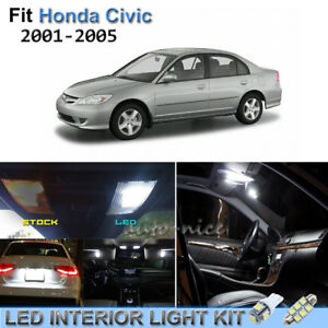 Details About 11pcs Bright White Interior Led Lights Kit Fit For 01 05 Honda Civic Coupe Sedan