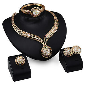 New-Women-Fashion-Wedding-Party-Rhinestone-Necklace-Bracelet-Ring-Earrings-Set