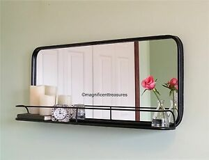 industrial metal pharmacy style rectangular wall mirror. Black Bedroom Furniture Sets. Home Design Ideas