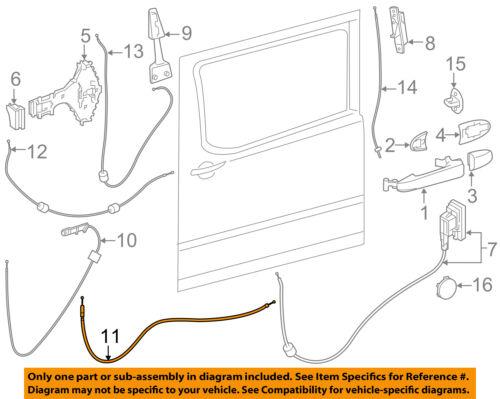 Mercedes MERCEDES-BENZ OEM Sprinter 2500 Side Sliding Door-Cable 9067600940
