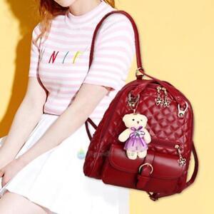 28fade871e5b Image is loading Fashion-Women-PU-Leather-Backpack-Girl-School-Shoulder-