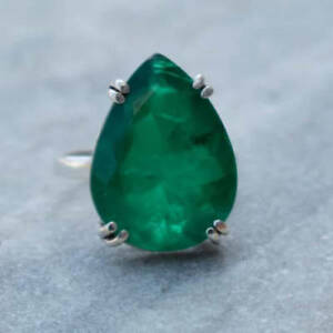 Pear-Faceted-Emerald-Gemstone-925-Sterling-Silver-Prong-Set-Ring-USA-Size