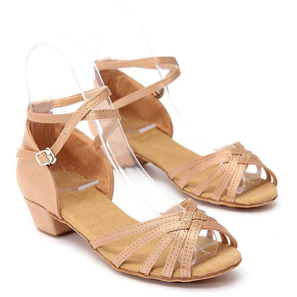 Fashion Women Children Girl's Ballroom Latin Tango Dance Shoes Heeled Salsa