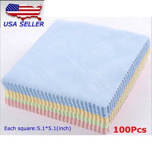 100pcs Microfiber Phone Screen Camera Lens Glasses Cleaning Cloth Square Cleaner 603097531299