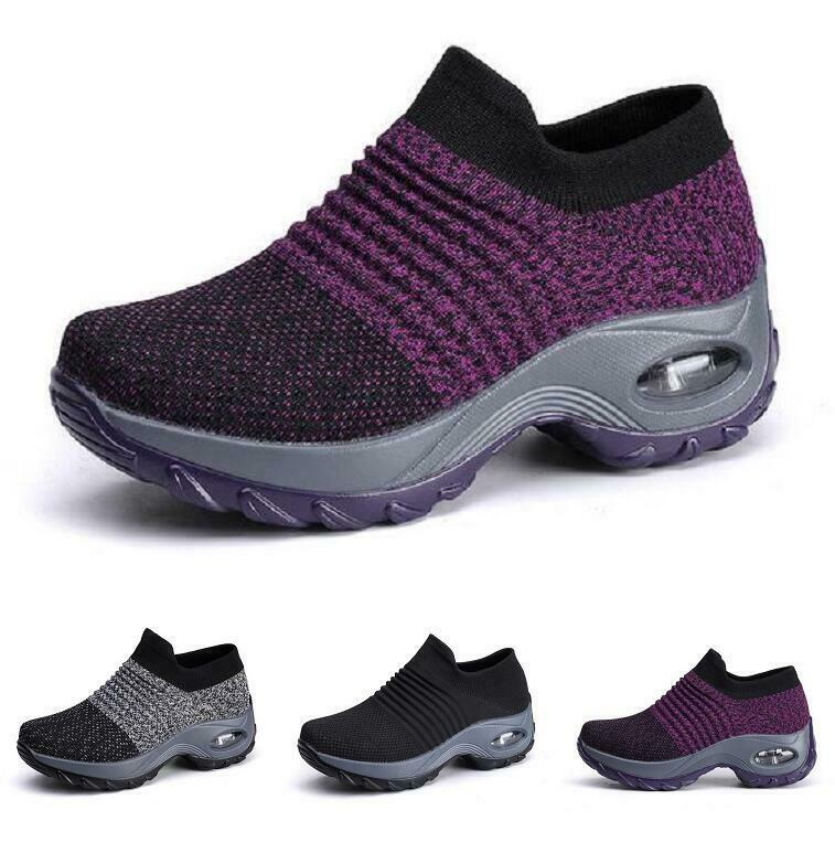 Womens Athletic Knitted Wedge Heels Running Sport Fashion Sneakers Low Top shoes