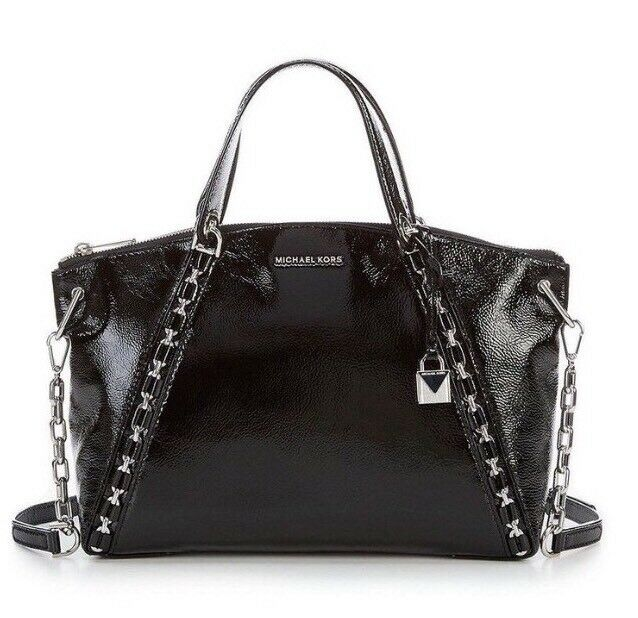 3736790ece46 Michael Kors Women's Sadie MK Black Patent Leather LG TZ Satchel Bag  30F7SAES3A for sale online | eBay