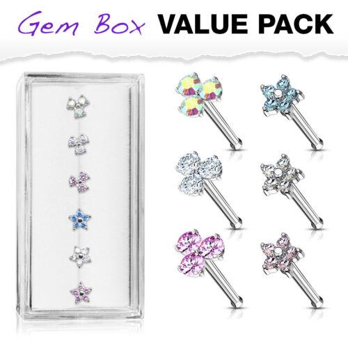 6pcs Triangle /& Fleur Zircone cubique Gem nez stud OS anneaux acier 20 g CASE Value Pack