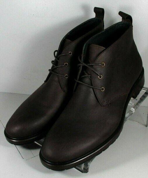 271506 esbt 50 Chaussures Hommes Taille 9.5 M En Cuir Marron Foncé Bottes Johnston & Murphy