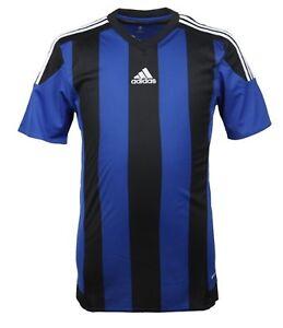Adidas Men Stripe 15 Climacool S/S Shirts Football Soccer Blue Top ...