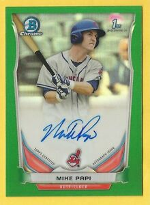 2014-Bowman-Draft-Baseball-Mike-Papi-Rookie-Green-Refractor-Auto-Indians-28-99