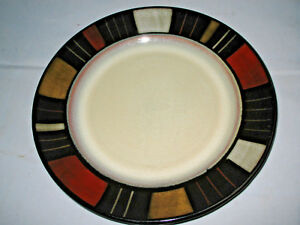 "Mikasa Waverly Dinner Plates with colorful Mossaic squares 11 1/4"" Set of 2"