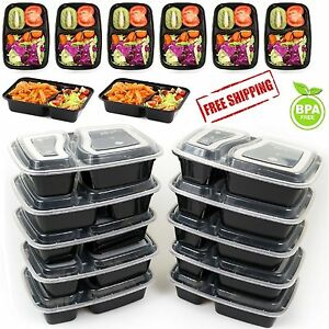 10 meal prep containers food storage 2 compartment plastic microwavable reusable 709153149078 ebay. Black Bedroom Furniture Sets. Home Design Ideas