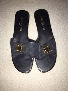 ba255e26b300 Pre-Owned Louis Vuitton Black Wooden Sandals Slide Shoes Size 9 1 2 ...