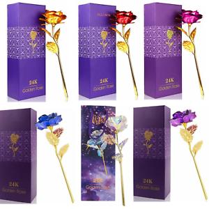 Rose-Eternelle-Petales-Plaque-Or-24K-Fleur-Artificielle-Seche-Boite-Cadeaux-Noel