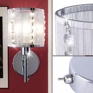 LED Design Wand Leuchte Schlaf Gäste Zimmer Chrom Kristall Strahler Lampe silber