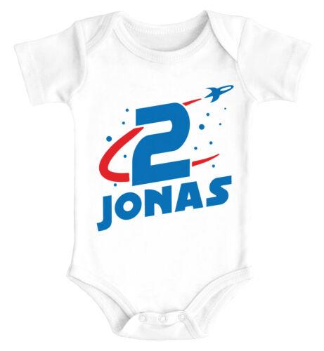 Babybody personalisiert mit Name erster Geburtstag Zahl 1 Rakete kurzarm Body