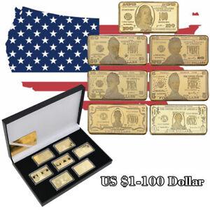 WR-7pcs-Gold-Art-Bar-US-1-100-Dollar-Bill-Money-Collection-Set-In-Gifts-Box