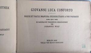 Giovanni L Conforto : Rare Music Book 1922 . Breue Et Facile Maniera' Etc J Wolf