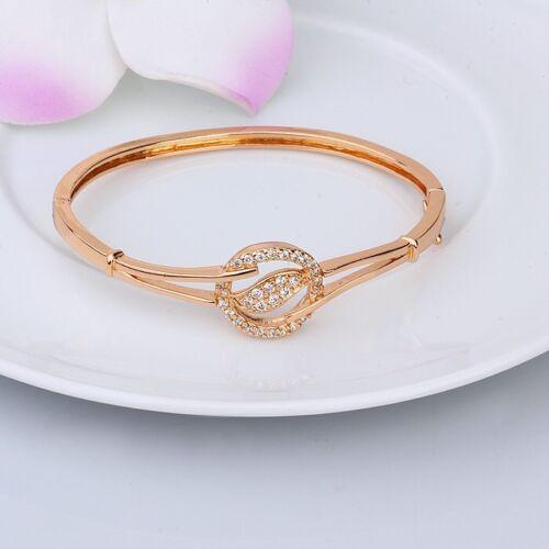 """57mm,1007 9ct 9k Rose /""""Gold Filled/"""" Girls White Stones Openable Bangle Bracelet"""