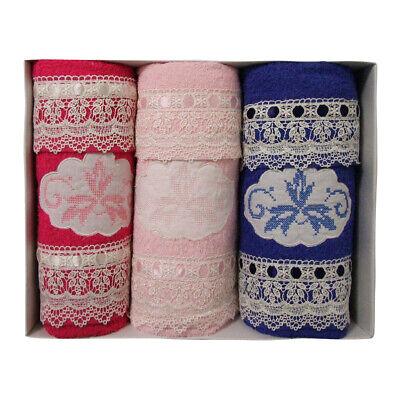 Humor Set Asciugamani Home Collection 3+3 Viso Ospite Fuxia Rosa Blu Macrame' Crease-Resistance Bedding Home & Garden