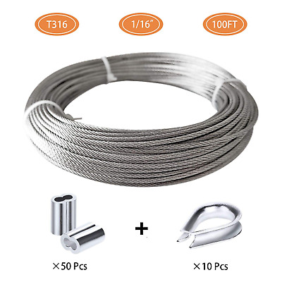 100FT Length 7x7 Strand Core with 50Pcs Aluminum Sleeves and 12Pcs Thimbles Eowpower 1//16 inch Stainless Steel 316 Aircraft Cable Wire Rope Marine Grade