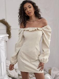 cherrie424: NWOT Shein Beige Puff Sleeve Dress