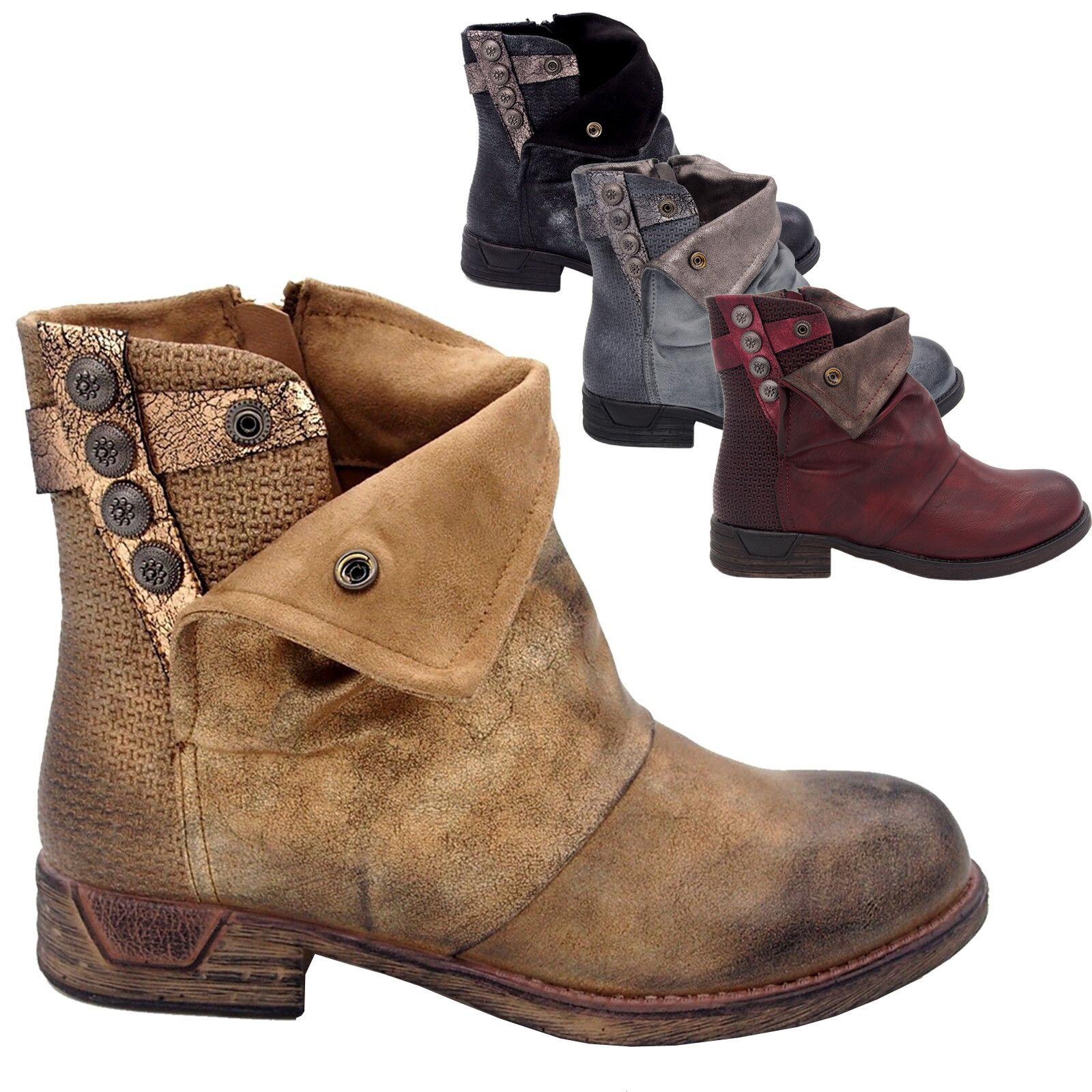 8809117995b3 Chaussures Bottines boots vintage femme Bout rond Talon plat cuir ...