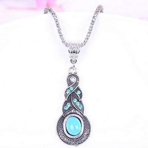 Retro Jewelry Tibetan Silver Blue Turquoise Chain Crystal Pendant Necklace