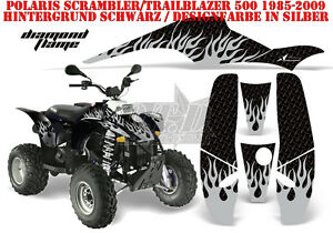 AMR RACING DEKOR GRAPHIC KIT ATV POLARIS SCRAMBLER/TRAILBLAZER DIAMOND FLAMES B