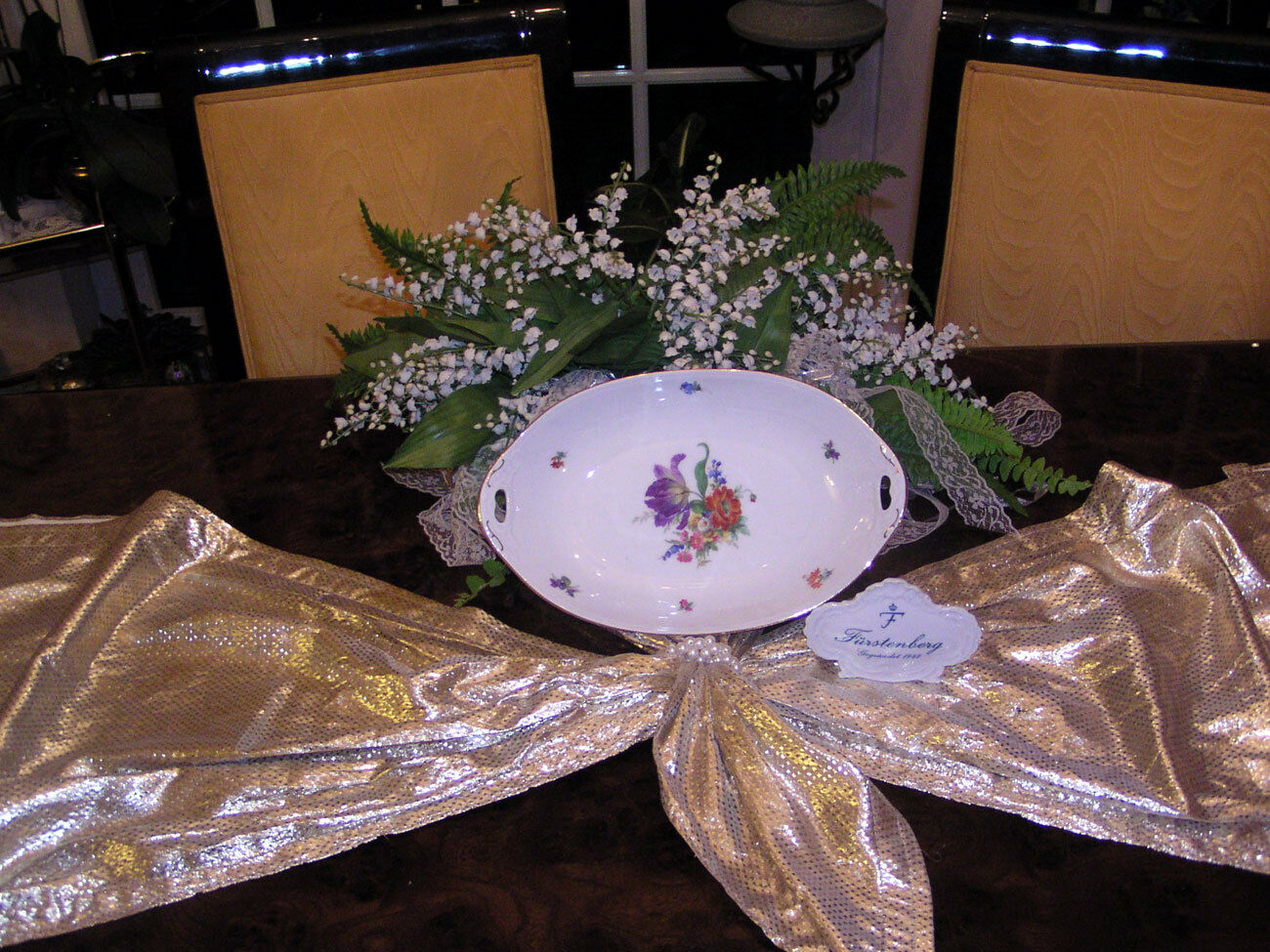 Noble Grenier bol salade de fruits Furstenberg Couleuré fleur décor tulipe top