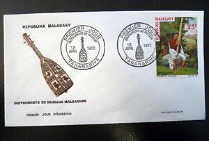 MADAGASCAR-404-PREMIER-JOUR-FDC-INSTRUMENT-MUSIQUE-VALIHA-25F-1965