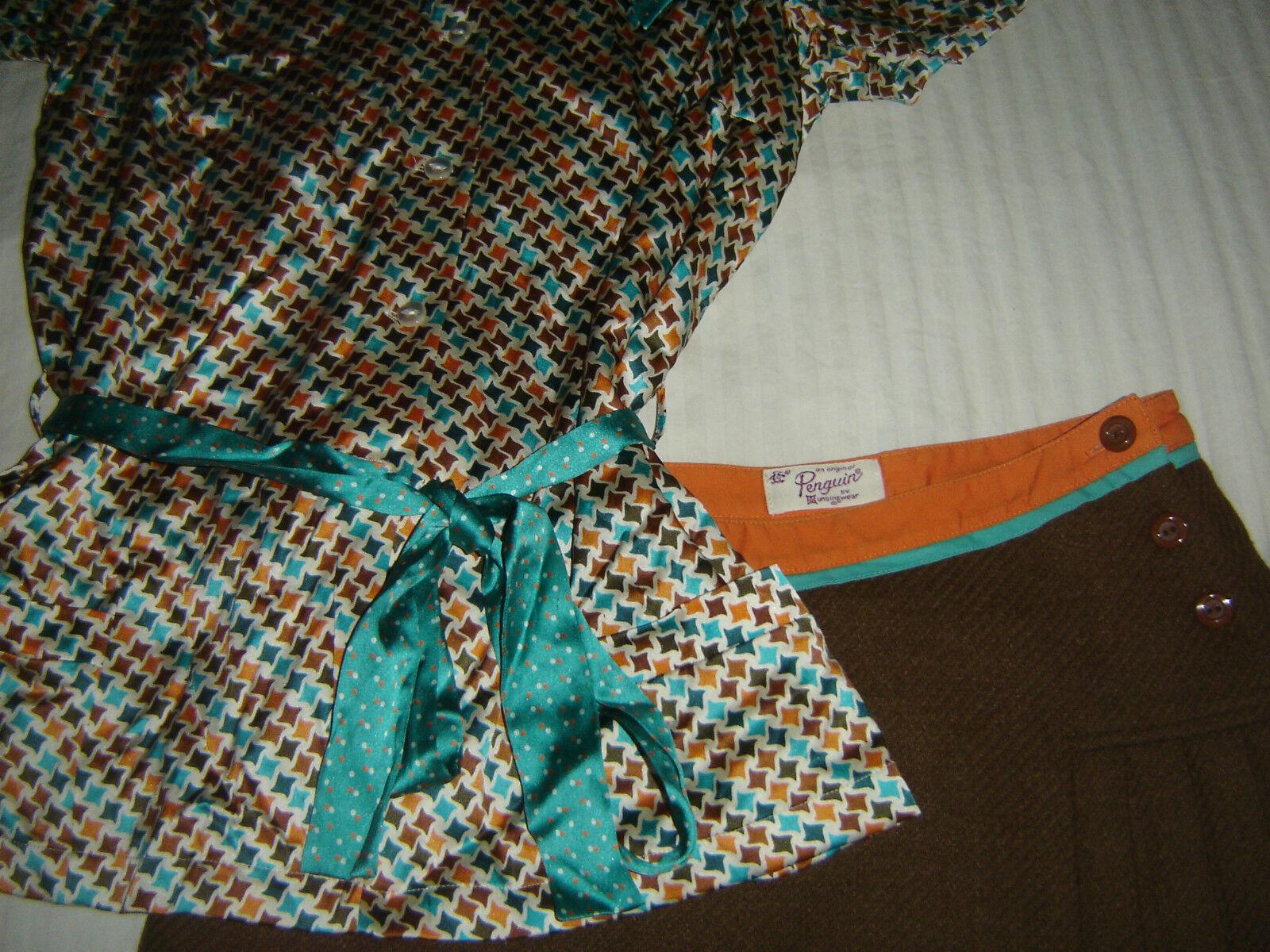 An Original Penguin by Munsingwear Silk satin, 2 Pc, Blouse & Skirt Set   2 2