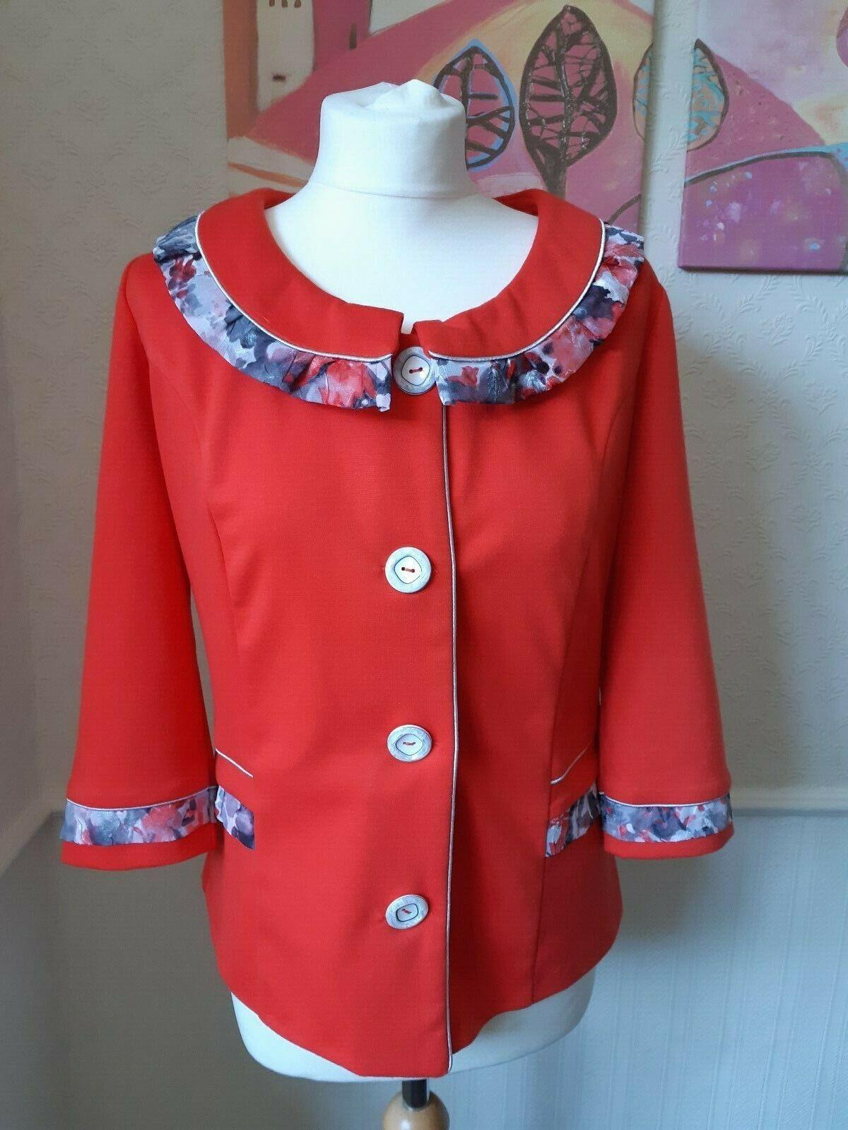 Vintage The Distinctive cute red jersey jacket with floral trim jacket UK 8 10